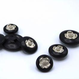 Boutons en résine noir fleur argentée