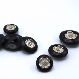 Resin button with silver flower - black
