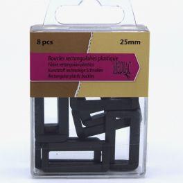 Boucles rectangulaires plastique noir