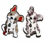 Iron-on patch dog with reversible glitters
