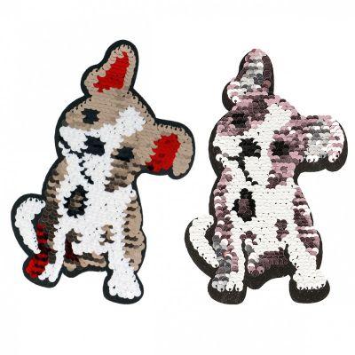 Opstrijkbare hond met omkeerbare glitters