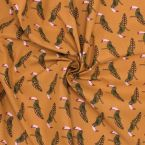 Printed cotton with toucans - mustard yellow