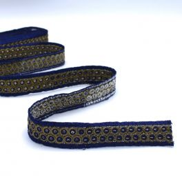 Embroided braid trim with blue and golden glitters