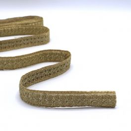 Embroided braid trim with golden glitters