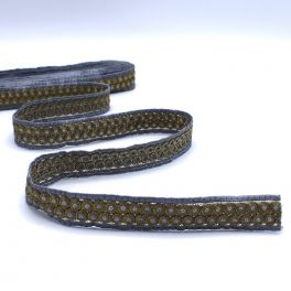 Embroided braid trim with steel grey and golden glitters