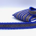 Embroided ribbon with pompoms - blue