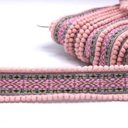 Embroided ribbon with pompoms - pink