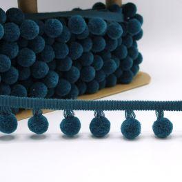 Fantasie biesband met pompons - pauwblauw