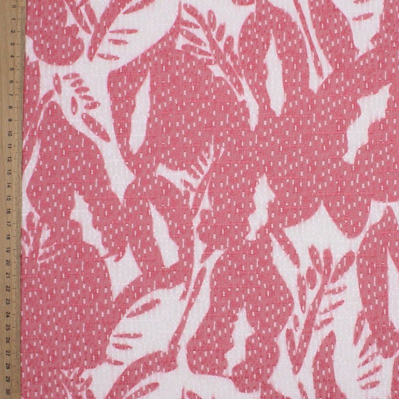 Stretch Jacquard fabric with foliage print