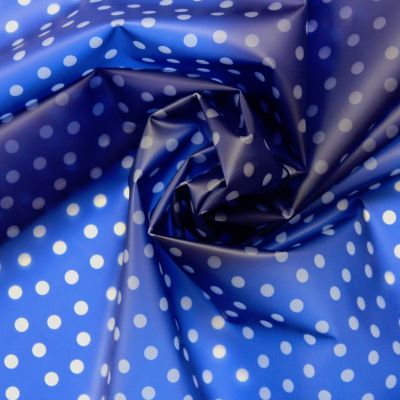 Waterproof translucent fabric with dots - blue