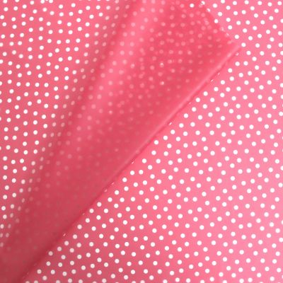 Waterproof translucent fabric with dots - pink