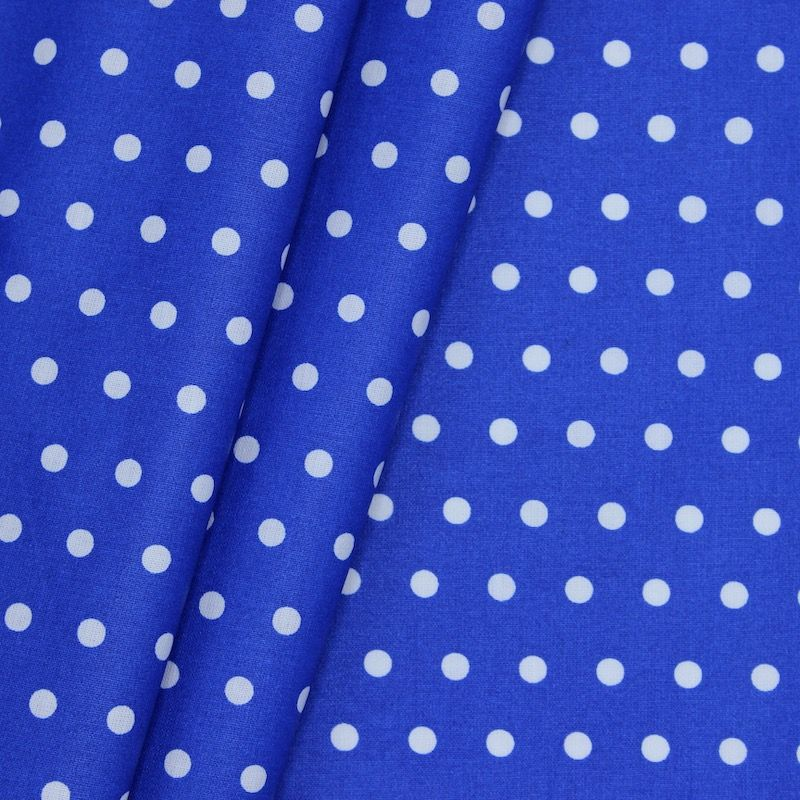 Coated cotton with spots - blue background