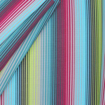 Tissu d'extérieur bayadère Bandol turquoise