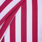 Tissu d'extérieur rayé fushia et blanc