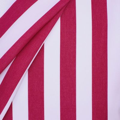 Striped outdoor fabric - fuchsia and white