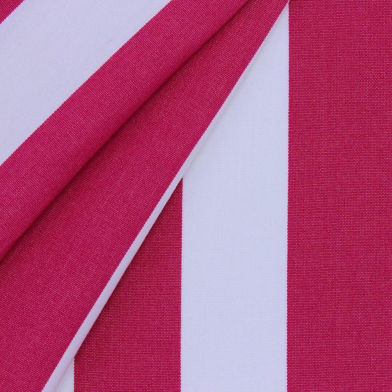 Tissu d'extérieur en dralon bayadère fushia et blanc