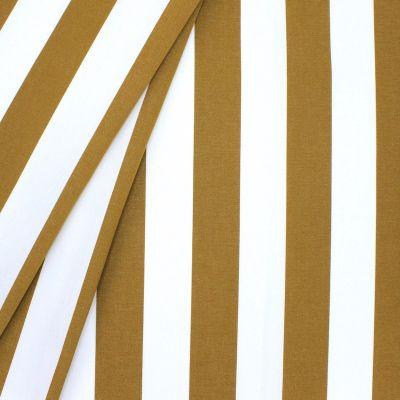 Tissu d'extérieur rayé moutarde et blanc