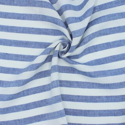 100% linen with stripes - blue