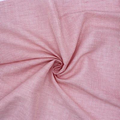 Tissu en coton flammé à carreaux rouge