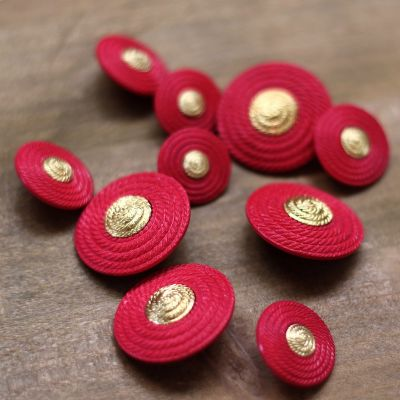 Button - fuchsia and gold