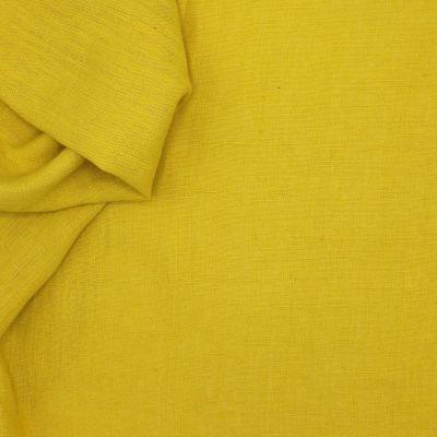 Tissu en 100% lin lavé uni moutarde