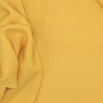 Tissu en 100% lin lavé uni jaune ananas