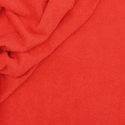 Coral red terry fabric