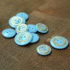 Resin button - blue and gold