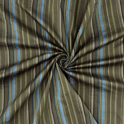 Cotton fabric with blue lines fabric on kaki green background
