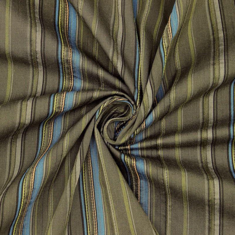 Tissu en coton à lignes bleues sur fond vert kaki