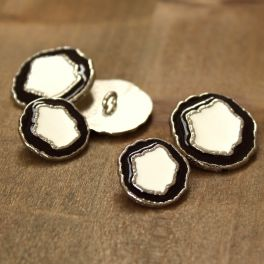 Metal button - silver, ecru and black