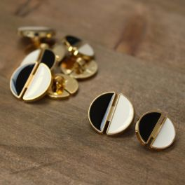Button with metal aspect - gold, black and off-white