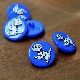 Resin button with children's print - blue