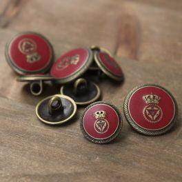 Metalen knoop - goud en rood