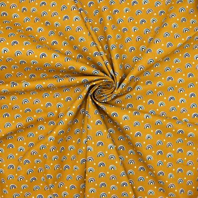Printed cotton with pattern - mustard yellow background