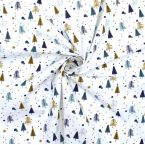 Printed cotton with fir trees - ochre and indigo