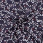 Printed cotton with foliage - plum background