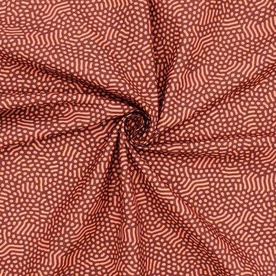 Coton imprimé bourgogne et saumon