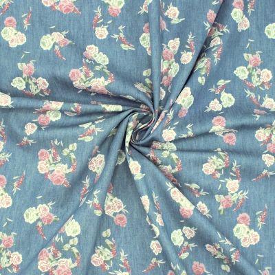 Tissu jean's imprimé jean's à fleurs