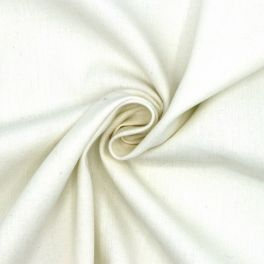 Linen and cotton fabric with herringbone pattern - off white