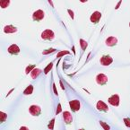 Double cotton gauze with strawberries - white