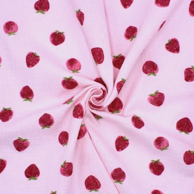 Double cotton gauze with strawberries - pink