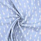 Double cotton gauze with giraffe - grey
