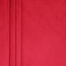 Tissu velours souple rouge