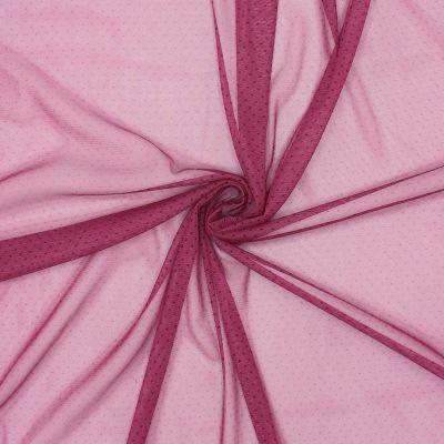 Tissu résille extensible fushia à pois