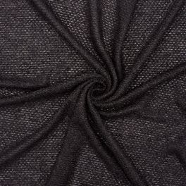 Extensible knit fabric with loops - black