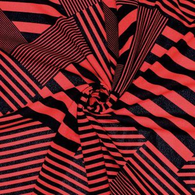Jersey crêpe met strepen