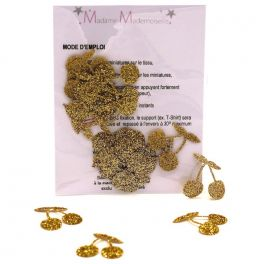 Mini Opstrijkbare glitter kersen - goud
