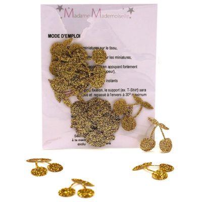 Mini iron-on glitter cherry patch - gold