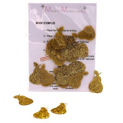 Mini iron-on glitter pear patch - gold